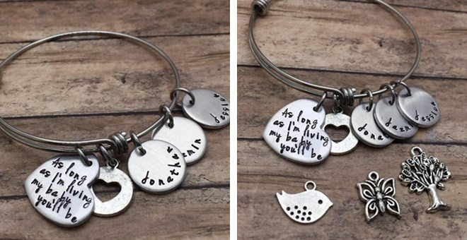 Personalized As Long as I'm Living Bangle