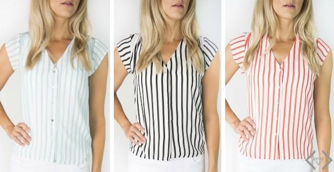 Striped Cap Sleeve Blouse