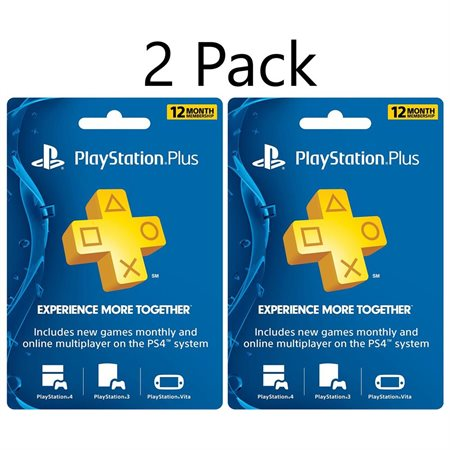 2 Pack 12 Month Sony PlayStation Plus Membership Subscription NetworkCard