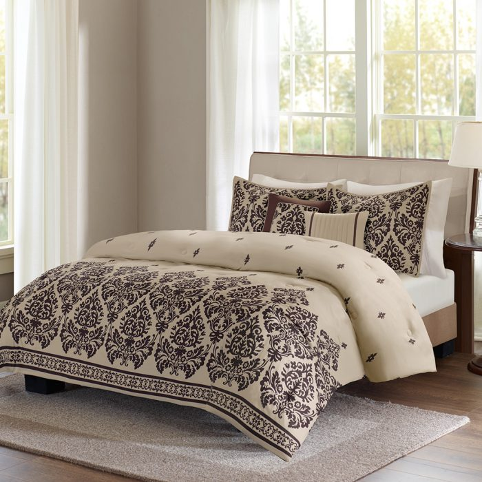 5 piece damask comforter set