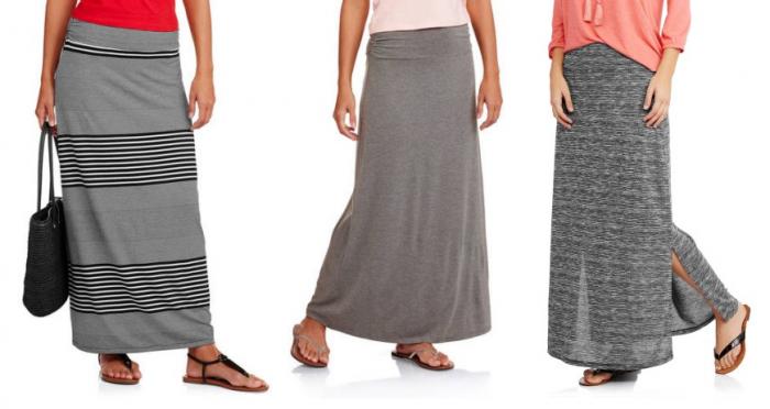 Faded Glory Women's Fashion Maxi Skirt with Shirred Waistband