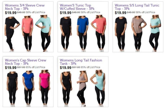 Galaxy by Harvic Women's 3 pack Tops