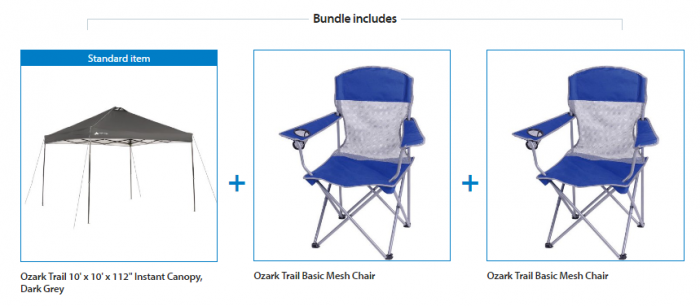 Ozark Trail 10x10 Canopy with 2 Basic Mesh Chairs
