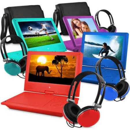 Portable DVD Player with Color Headphones and Carrying Bag