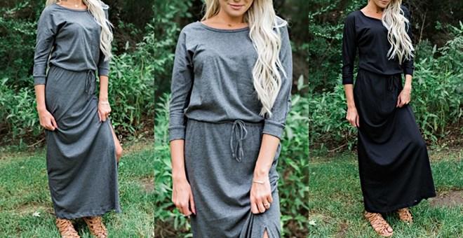 Quarter Sleeve Maxi Dress