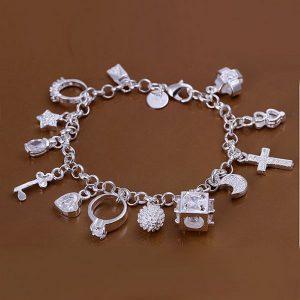 Silvertone Elegant Assorted Charms Bracelet