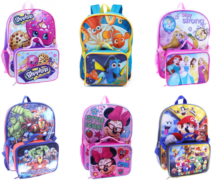 character backpack and lunch bag sets