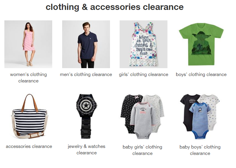 target clothing and accessories clearance