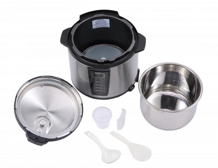 Black 1000-Watt 6-Quart Electric Pressure Cooker Brushed Stainless and Matte