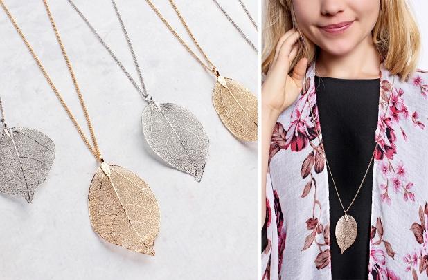 Filigree Leaf Long Necklace