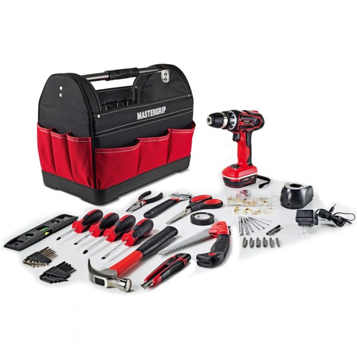 Mastergrip 44 pc Tool Set with Lithium Ion Cordless Drill and Tool Bag