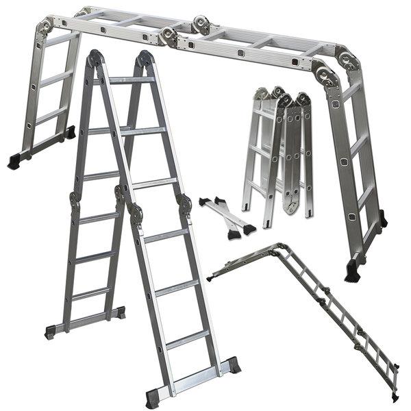 OxGord Heavy Duty Aluminum 12.5 ft Folding Ladder