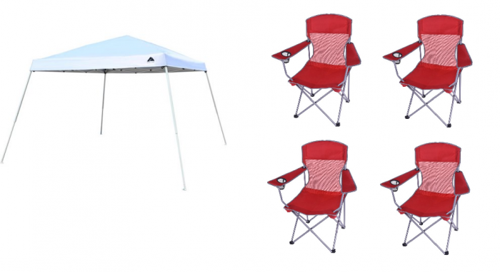 Ozark Trail 12x12 Slant Leg Instant Canopy with 4 Chairs Value Bundle