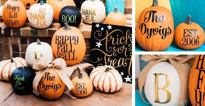 Personalized Pumpkin Vinyl  Set of 2
