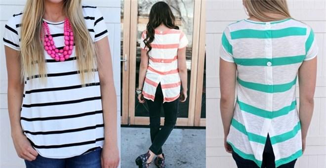 Striped Button Back Tunics