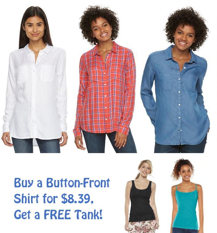 button up shirt free tank kohls deal