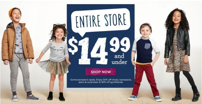 gymboree 14.99 and under sale