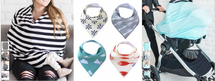 multi use car seat covers and baby bandana bibs