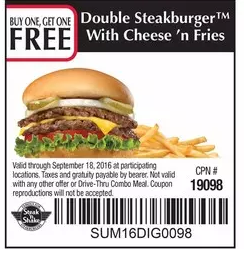 If Steak 'n Shake isn't your favorite burger place, it's probably because you haven't tried their famous steakburgers yet. Try the original double 'n cheese, the bacon 'n cheese double, or any other menu item for less with Steak 'n Shake printable coupons.