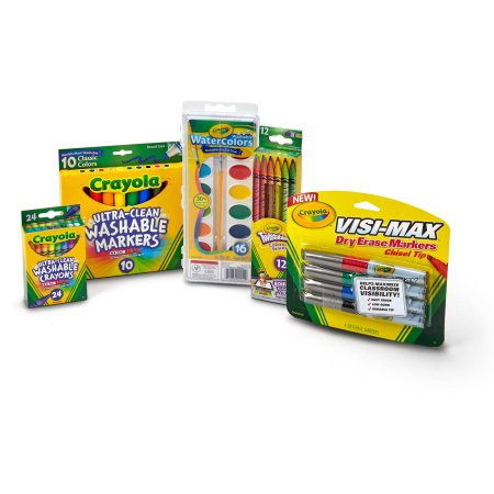 Crayola Deluxe Starter Pack with Crayons, Washable Paint, Colored Pencils and Dry Erase Markers