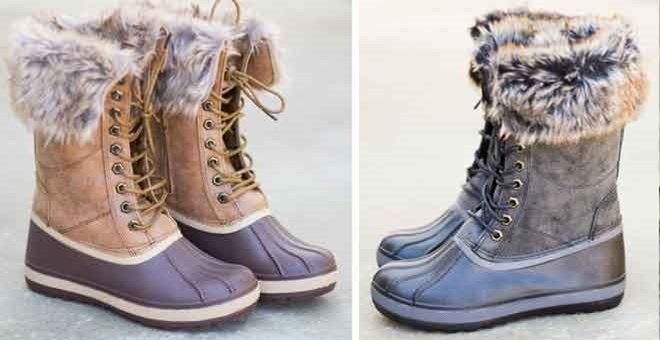 Luxury  Women39s Fashion PullOn Faux Fur Waterproof Lace Up Duck Boots  EBay