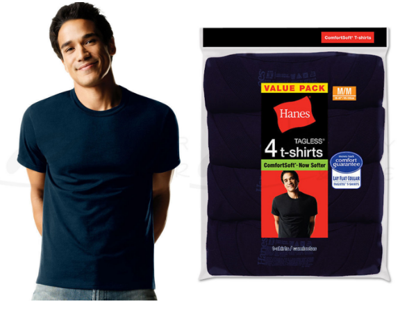 Hanes Men's Tagless Comfortsoft Dyed Crewneck 4 PACK, Large, in Black