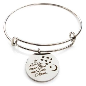 I Love You To The Moon And Back Again Stainless Bangle