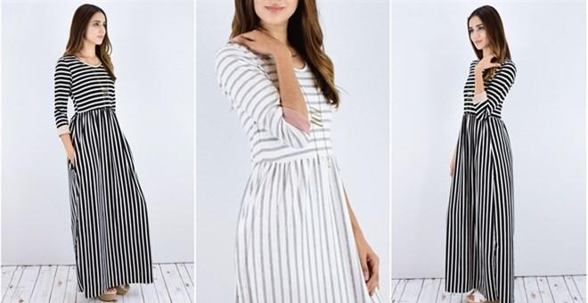 Two Block Striped Maxi Dress