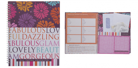 monthly bill organizer and planner book with pockets 6 reg 12