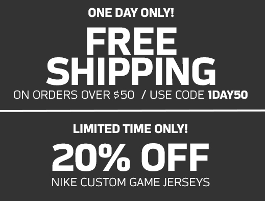 047180d5995 NFL Shop is offering Free Shipping today with your  50 order! Just use code  1DAY50 at checkout to get this deal.