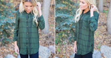green-plaid-button-up