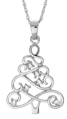 White sapphire christmas tree pendant necklace 1499 reg 90 christmas tree necklace aloadofball Image collections