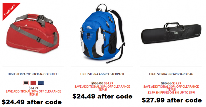 4a7500b9aed Check out this awesome clearance sale over at High Sierra! You can use  promo code CLEAROUT for another 30% off the already discounted prices