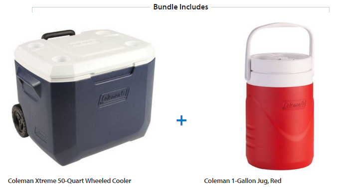 Coleman Xtreme 50 Quart Wheeled Cooler With 1 Gallon Jug