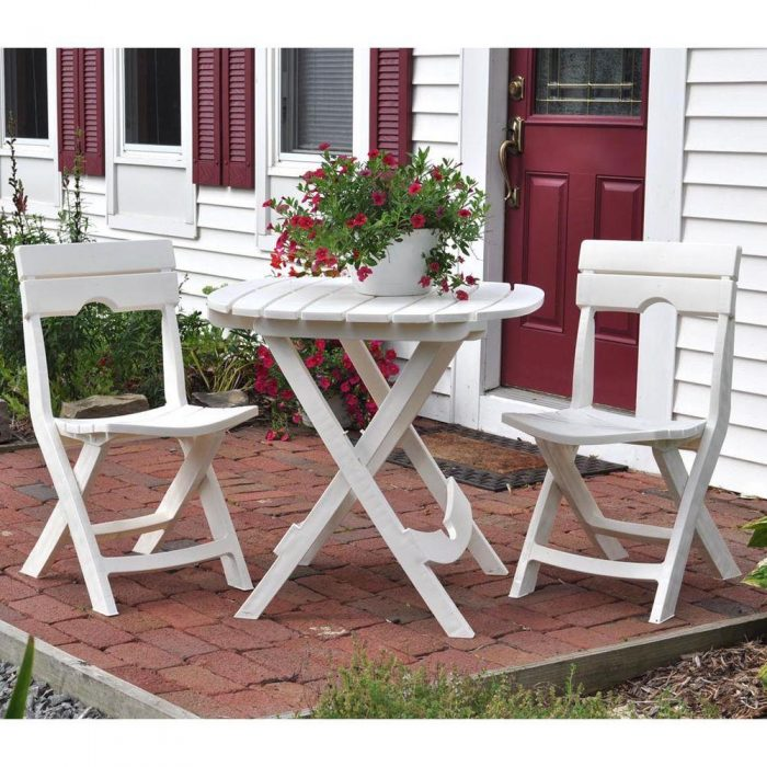 Quik Fold White 3 Piece Patio Cafe Set For 69 83 Shipped