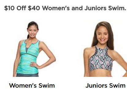 2c4fa61f34753 Through March 6th take $10 off a women's and juniors' swimwear purchase of  $40 or more when you enter the coupon code SWIM10 at checkout at Kohls.com.
