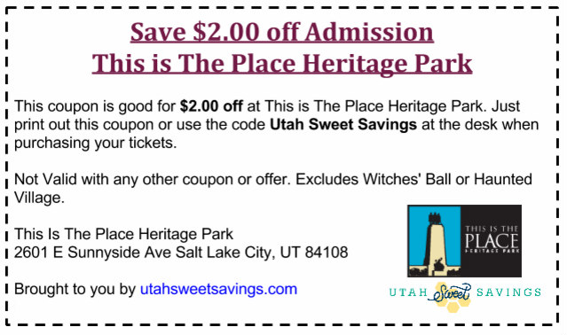 This Is The Place Heritage Park 2 Off Discount Code Plus Win 6