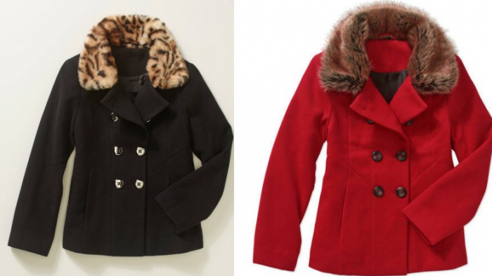 eb76bcef947 Girls  Short Wool Double Breasted Peacoat Black or Red JUST  7  Sizes 4 5