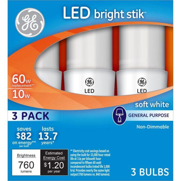 GE 60W Equivalent Soft White General Purpose LED Bright Stik Light Bulbs, 3  Pack For $3.99 (Reg $7.97)