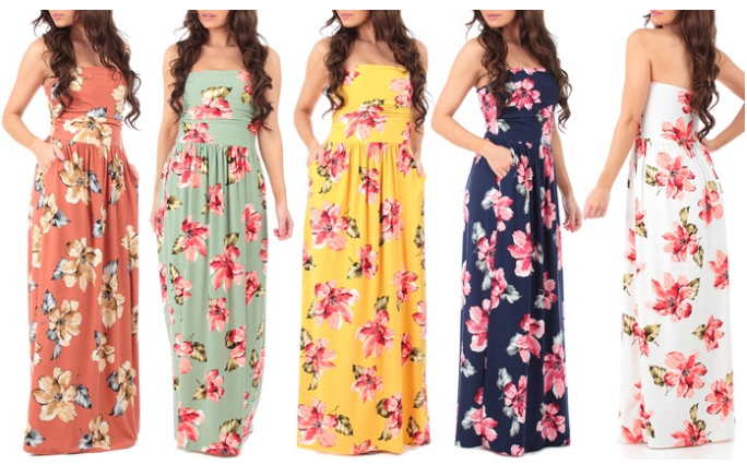 379eda1b6cd These stylish dresses have pockets! They d be perfect for a special  vacation. Women s Strapless Floral Maxi ...