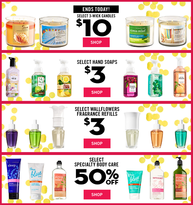 Bath & Body Works Semi-Annual Sale! $10 Candles, $3 Hand