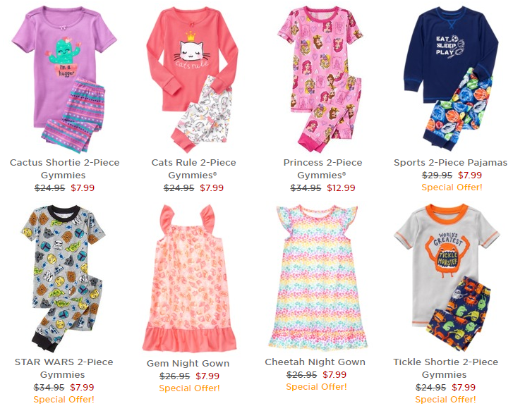 gymboree hot clearance sale on kids clothes up to 75 off tees 599 pajamas 799 dresses 999