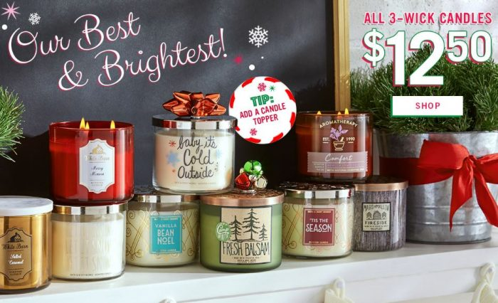 bath body works 20 off code 3 wick candles for 10 shipped reg new seasonal. Black Bedroom Furniture Sets. Home Design Ideas