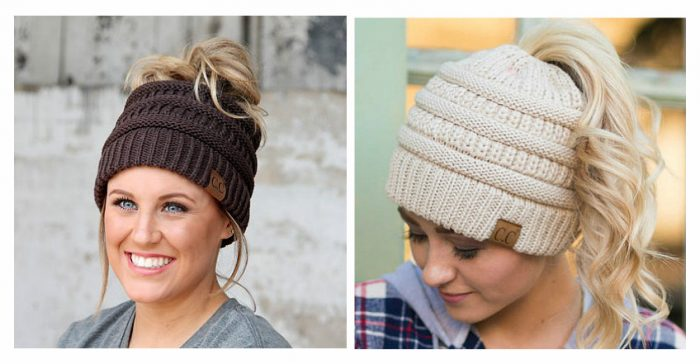 a1babb23df1 I think these Messy Bun Beanies are sooo cute! They come in Adult and Kid  sizes. Choose from dozens of colors.