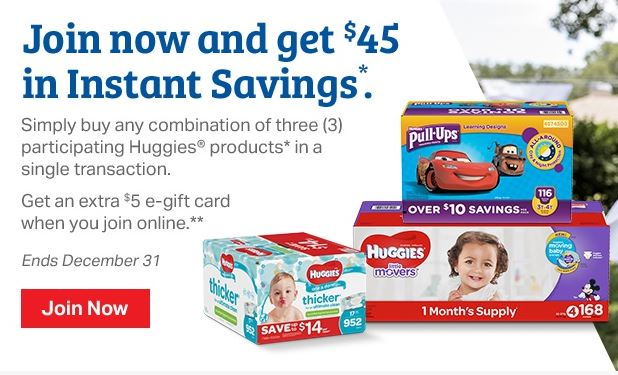 Join Sams Club Get 45 Instant Savings On Huggies Products 5 E Gift Card Plus NEW 8 Off