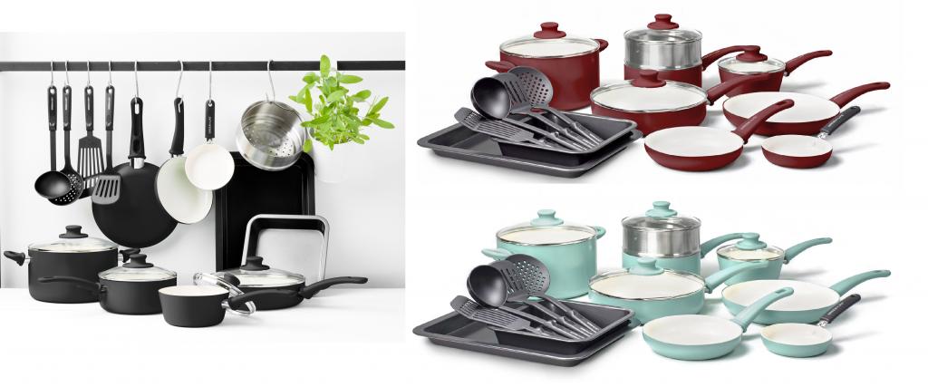 Greenlife Chef S Essentials Ceramic Non Stick 18pc Cookware Set For 49 Reg 89 99