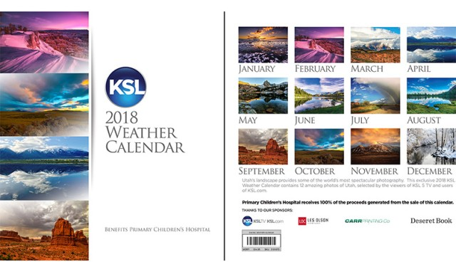KSL 2018 Weather Calendars for $5 (Reg $14 95) *All Proceeds Benefit