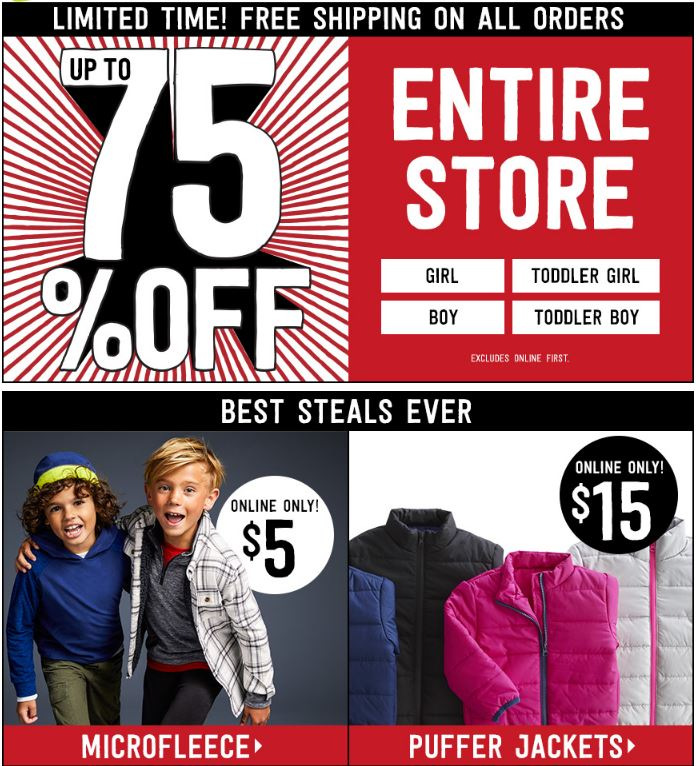 Crazy 8 Free Shipping on Kids Clothes! Puffer Jackets $15