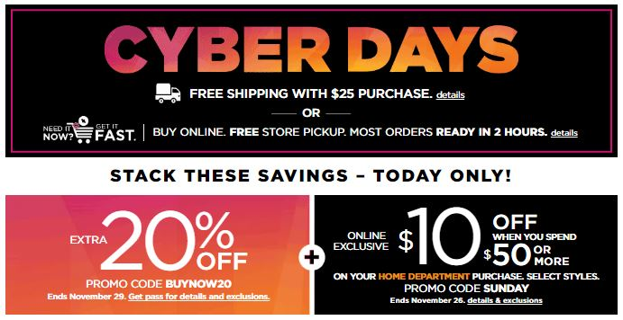 d58e21e4ef8 Kohl s is going to have a different sale every day this week for Cyber  Days