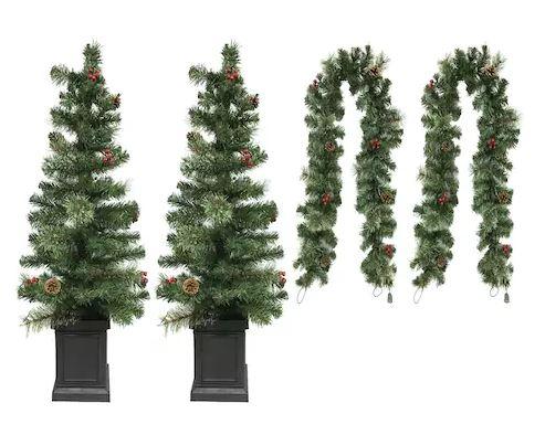 Kohls Christmas Trees.Pre Lit Porch Tree Christmas Garland 4 Piece Set 61 19
